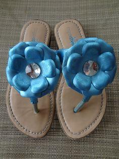 Girl's Flower Shoe Sandal Flip Flop By Expression's Size 13 $3.99