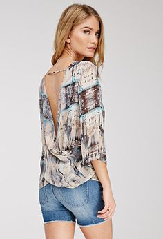 Abstract Print Twist-Back Blouse | FOREVER21 - 2000056873