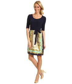 Donna Morgan Nicky Scarf Combo Print Dress