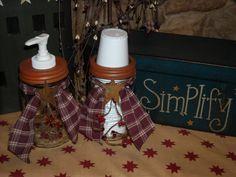 Country Primitive Mason Jar Soap and Cup Dispenser Set