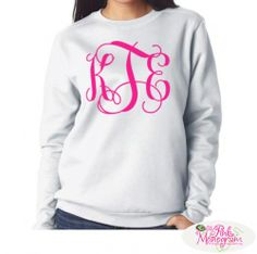 Monogrammed White Crew Neck Sweatshirt With Large Or Small Monogram At  www.thepinkmonogram.com