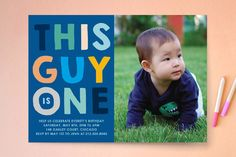 This Guy Kids Party Invitations by Baumbirdy at minted.com