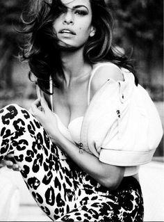 Eva Mendes in leopard print pants