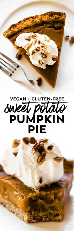 This Sweet Potato Pumpkin Pie with oat cookie crust and luscious custard filling is THE dessert for your holiday table! #vegan #glutenfree #thanksgiving