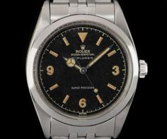 Rolex Super Precision Explorer Vintage Gents Stainless Steel Black Gilt Dial 5504