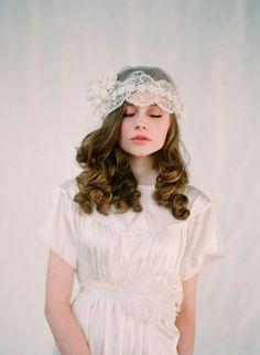 twigs and honey vintage wedding headpiece veil for a bride