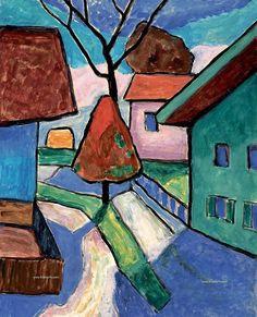 Gabriele Münter - Gasse in Murnau mit Roter Baum (Callejón en Murnau con Árbol Rojo) 1956 Wassily Kandinsky, Modern Art, Contemporary Art, Expressionist Artists, Franz Marc, Inspiration Art, Art Moderne, Art Abstrait, Naive Art
