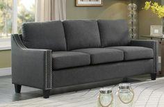 Pagosa 8328-3 Traditional Dark Grey Fabric Sofa Couch Nail Head Trim
