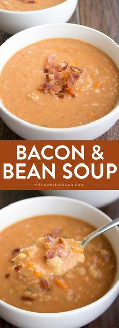 Bacon and Bean Soup – A warm and comforting fall recipe. Easy to make and full… Bacon and Bean Soup – A warm and comforting fall recipe. Easy to make and full… Fall Recipes, Soup Recipes, Cooking Recipes, Healthy Recipes, Chili Recipes, Healthy Food, Paleo Chili, Vitamix Recipes, Bacon Recipes