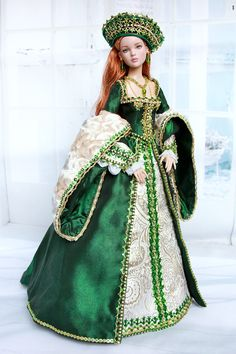 Vintage Barbie Clothes, Doll Clothes Barbie, Barbie Dress, Beautiful Barbie Dolls, Pretty Dolls, Elizabethan Costume, Glamour Dolls, Medieval Dress, Historical Clothing