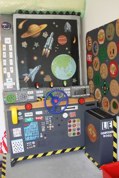 No link available. Spaceship command center using recycled materials the windows can be a collage done showing space and planets can be part of a space ship/station