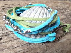 Baby Blue and Green Double Wrap Leather Suede Hippie Handmade Bracelet with Dolphin Charm by EffyBuu on Etsy