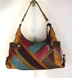 Fossil Multi Color Patchwork Leather Tote Hobo Shoulder Bag Purse Handbag | eBay