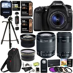 Canon EOS 80D Digital SLR Kit with EF-S 18-55mm f/3.5-5.6 Image Stabilization STM & Canon EF-S 55-250mm Lens  Polaroid .43x Super Wide Angle & 2.2X HD Telephoto Lens  Memory Cards  Accessory Bundle