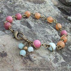 Bohemian Beauty  Wire Wrapped Gemstone Link Bracelet   by Angelof2, $25.75