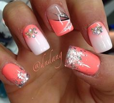 coral coloured nail