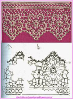 Crochet lace border edging - MIRIA CROCHÊS E PINTURAS