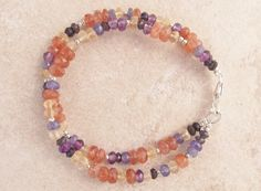 Sunshine and Shade Bracelet---Tanzanite, Sunstone, Amethyst, Citrine, Iolite, Sterling Silver