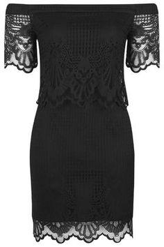 Jersey Lace Bardot Dress