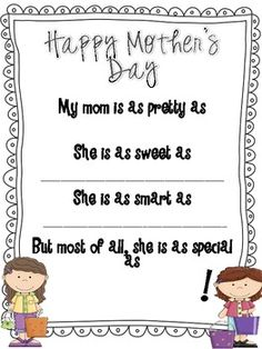 Mother's Day Questionnaire, Survey and Poem