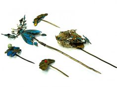 Gold Gilt on Silver Antique Chinese Hair Pins, Set of : Lot 242