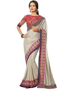 Georgette & Jacquard Border Work Grey Plain #Designer Saree   #bridal #fashion #style #desi #designer #wedding #gorgeous #beautiful #StayTrendyWithIndiaRush #StayTrendy