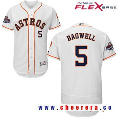 Men's Houston Astros #5 Jeff Bagwell White Home Majestic Flex Base Stitched 2017 World Series Champions
