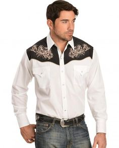 Ely Cattleman White and Black Embroidered Western Shirt - Sheplers