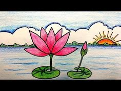 Water Lily Drawing Easy Step By Step Beautiful water lily drawing tutorial for beginners.Beautiful water lily drawing tutorial for beginners. Drawing Classes For Kids, Basic Drawing For Kids, Scenery Drawing For Kids, Art Drawings For Kids, Painting For Kids, Easy Drawings, Art For Kids, Art Children, Oil Pastel Art