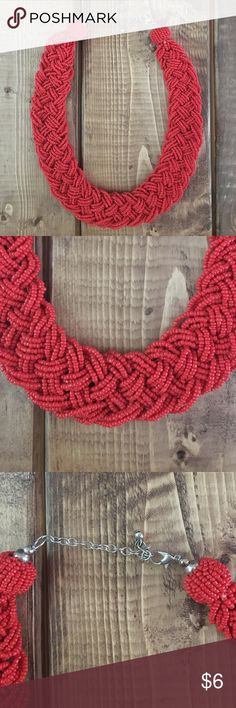 Bohemian Red beaded necklace Worn once red woven beads Jewelry Necklaces