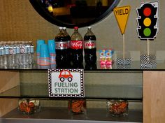 planes trains automobile party - drink table = fueling station!
