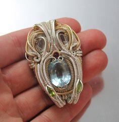 Double hanging Blue Topaz symmetrical Wire wrapped pendant// wire wrap necklace// heady gem wrap