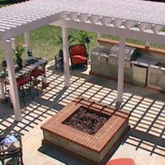 Beautiful Outdoor Kitchen With White Pergola , Incredible Outdoor Kitchen Ideas; Extra Charming for Backyard In Kitchen Category