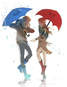 America & England Hetalia x The Blue Umbrella crossover Blue Umbrella, Hetalia America, Hetalia Axis Powers, Monster University, Usuk, You Draw, All Anime, Anime Style, Pixar