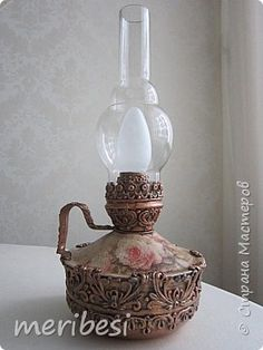 Recycled Magazine Crafts, Recycled Crafts, Old Lanterns, Victorian Lamps, Hobbies To Try, Hurricane Lamps, Decoupage Art, Diy Kitchen Decor, Antique Lighting