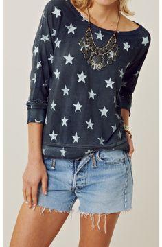 Blue Starry Letterman Sweatshirt