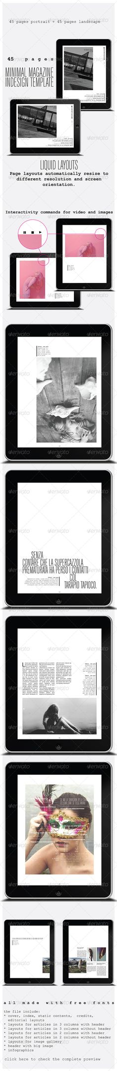 40 Pages Minimal Magazine For Tablet  #GraphicRiver         InDesign iPad tablet magazine template.