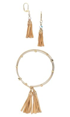 Jewelry Design - Bangle Bracelet and Earring Set with Leather Tassels, Metal Beads and Wire - Fire Mountain Gems and Beads