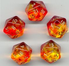 RPG Dice Set of 5 D20 - Gem Blitz / Firefly Red Dice Games, Fun Games, Cool Dnd Dice, Playing Dice, Dungeons And Dragons Dice, Dragon Dies, Stuff And Thangs, Red Aesthetic, Tabletop Games