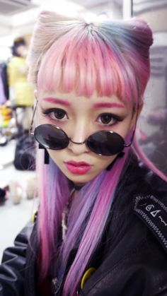 kawaii cute dyed hair pink blue purple lavender pastel sunglasses japan japanese fashion harajuku fairy kei girl
