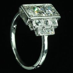 Reserved for Debbie  French Art Deco diamond engagement ring