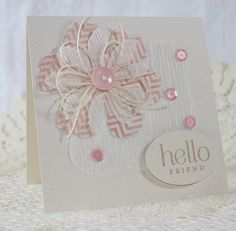 Square card - sequins, twine, button, crepe paper.
