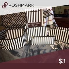 Henri Bendel Bundle 4 Piece Set brown/white coated canvas Cosmetic and jewelry case henri bendel Bags Cosmetic Bags & Cases
