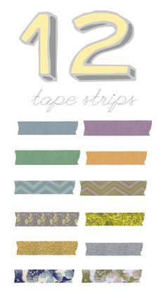 12 Free Washi Tape Strips