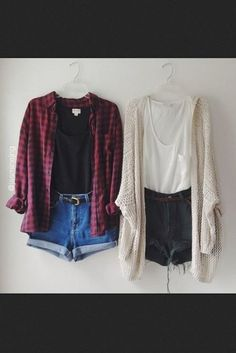 Blouse flannel red and black hipster white denim shorts grunge high-wasted denim shorts soft grunge.