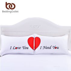 BeddingOutlet Set of 2 LOVE Cute Pillow Cases Red Heart Together Pillowcase Super Soft Pillow Cover for Wedding Valentine's Gift - Buy Bed Linen Online Cheap Pillows, Cute Pillows, Diy Pillows, Soft Pillows, Throw Pillow Covers, Pillow Cases, Cheap Sheets, Pillows Online, Buy Bed