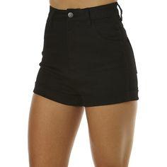 Wrangler Pin Up Short ($72) ❤ liked on Polyvore featuring shorts, bottoms, black, denim shorts, women, denim short shorts, short jean shorts, high waisted shorts and high-waisted shorts