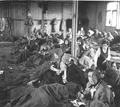 Bergen Belsen, Germany, Former prisoners inside a barrack in the women's camp, after the liberation.