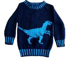 Dinosaur Child's Sweater and Hat - Velociraptor - Knitting Pattern, Dinosaur Sweater and Hat Knitting Pattern, Dino Knitting Pattern Kids Knitting Patterns, Jumper Knitting Pattern, Jumper Patterns, Christmas Knitting Patterns, Knitting For Kids, Baby Knitting, Dinosaur Pattern, Boys Sweaters, Kid Outfits