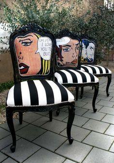 interior design, home decor, furniture, seating, chairs, wood furniture, black, white, black and white, stripes, patterns, roy lichenstein, art